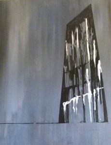 Acrylbild, Frankfurt am Main, EZB, Acryl auf Leinwand, 100 x 80 cm