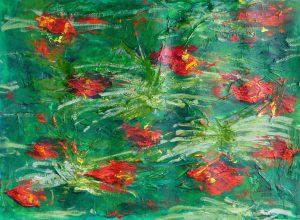 Herbstimpression (Rasen) 2017 Acryl auf Oelmalpapier Grobleinen, 30 x 40 cm