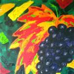 Acrylmalerei, Acrylbild, Portugiesische Traube, Acryl auf Leinwand, 20 x 20 cm