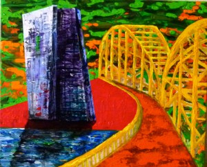 Acrylbild, Frankfurt am Main, EZB, EZB mit Brücke, Acryl auf Leinwand, 50 x 60 cm, Frankfurt am Main, Acrylmalerei