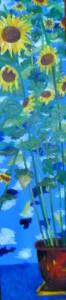 Acrylbild, Stillleben, Sonnenblumen, Acrylmalerei, Leinwand, 160 x 40 cm