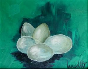 Eier, Stillleben, Oelmalerei, Malpappe, 24 x 30 cm