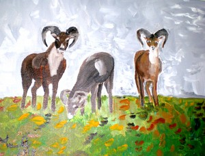 Acrylbild, Muffel, Acrylmalerei, Leinwand, 30 x 40 cm