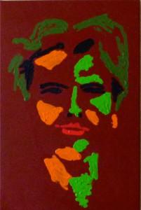 Acrylbild, Portaetmalerei, Raija Smed-Hildmann, Selbstbildnis, Acrylmalerei, Leinwand, 60 x 40 cm