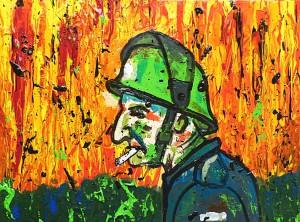 Acrylmalerei, Acrylbild, Feuerwehrmann, Acryl auf Leinwand, 30 x 40 cm
