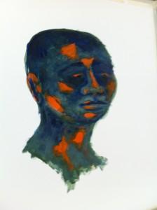 Acrylmalerei, Portraetmalerei, Acrylbild, Leinen Canvas Papier, 60 x 40 cm