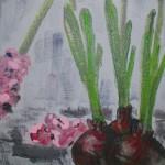 Acrylbild, Stillleben, Blumen, Hyazinthen, Acrylmalerei, Leinwand, 20 x 20 cm