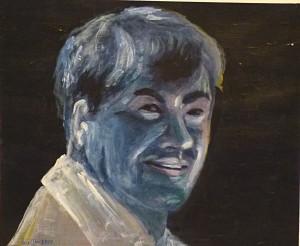 Acrylbild, Portraetmalerei, Acrylmalerei, Leinen Canvas Papier, 38 x 46 cm