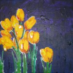 Acrylbild, Stillleben, Blumen, Krokusse, Acrylmalerei, Leinwand, 20 x 20 cm
