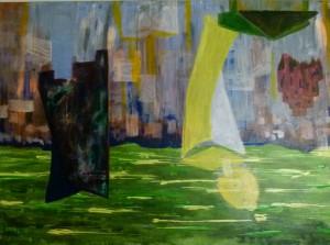 Acrylbild, EZB, Sachsenhausen, Frankfurt am Main, Acrylmalerei, Leinwand, 50 x 70 cm