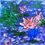 Acrylbild, Am Teich, Acrylmalerei, Leinwand, 30 x 30 cm