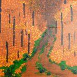 Acryl, Acrylbild, Herbst, Stillleben, Wald