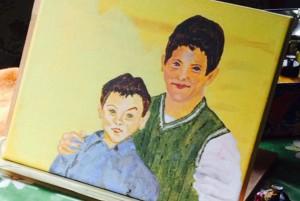 Acrylbild, Portraetmalerei, Gebrueder, Acrylmalerei, Leinwand, 24 x 30 cm