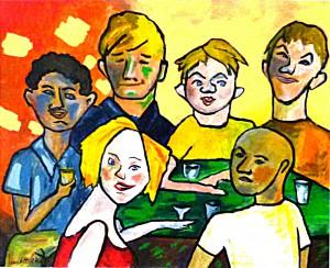 Acrylbild, Portraetmalerei, Familie, Acrylmalerei, Leinen Canvas Papier, 38 x 46 cm