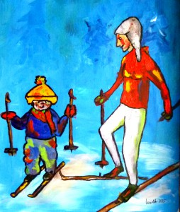 Acrylbild, Menschen, 2 Damen im Schnee, Acrylmalerei, Leinen Canvas Papier, 46 x 38 cm