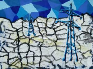 Acrylbild, Oberlandleitung, Acrylmalerei, Grobleinen Papier, 30 x 40 cm