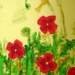 Acrylbild, Stillleben, Blumen, Wilder Mohn, Acrylmalerei, Leinwnad, 20 x 20 cm