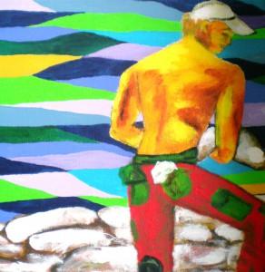 Acrylbild, Menschen, Hochwasser, Acrylmalerei, Leinwand, 30 x 30 cm