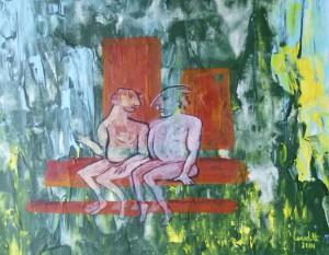 Acrylbild, Aktmalerei, Sauna, Acrylmalerei, Leinen Canvas Papier, 38 x 46 cm