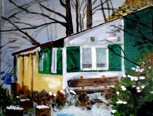 Acrylbild, Bienenhaus, Acrylmalerei, Leinwand, 24 x 30 cm