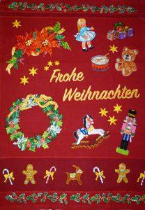 Weihnachtsdecke, bestickt, embroidered, bakery towel, tea towel, besticktes Geschirrtuch