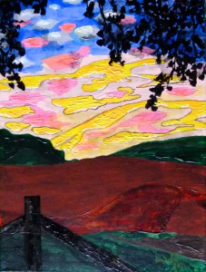 Tagesanbruch, Jagdrevier, Acryl, 40 x 30 cm, Acrylbild, Patersberg, Loreley