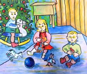 Weihnachten 1956 2016 Acryl auf Leinen Canvas Papier, 38 x 46 cm