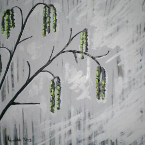 Acrylbild, Stillleben, Haselnuss, Acrylmalerei, Canvas Panel, 40 x 40 cm