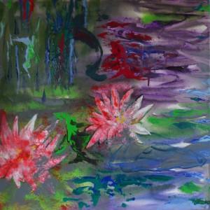 Acrylbild, Stillleben, Teich, Acrylmalerei, Leinwand, 50 x 50 cm