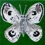 Acrylbild, Schmetterling, Acrylmalerei, Leinwand, 8 x 8 cm