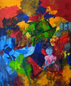 Acrylbild, Karibik, Menschen, Frau mit Kind, Acrylmalerei, Leinwnad, 120 x 100 cm