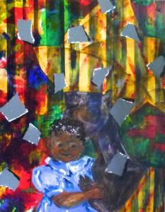 Acrylbild, Menschen, Mutter mit Kind, Karibik, Acrylmalerei, Leinwand, 90 x 70 cm