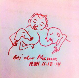 Zeichnung, Stillende Mutter, Mutter, Hund, Mann