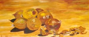 Oelmalarei, Zwiebeln, Malpappe, 30 x 62 cm