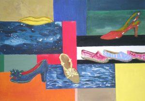 Schuhe, Stillleben, Acryl, Acrylbild