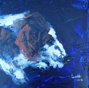 Westfaelische Dachsbracke, Ulme vom Loreleyfelsen, Hundeportraet, Acryl, Acrylbild