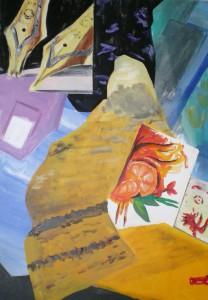 Acrylbild, Collage, Fueller, Acrylmalerei, Leinwand, 100 x 70 cm