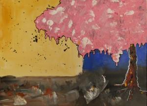 Acrylbild, Kirschbaum, Kirschbluete, Kirschbaumbluete, Acrylmalerei, Leinwand, 30 x 40 cm