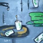 Acrylbild, Stillleben, Adas Tasche, Acrylmalerei, Canvas Panel, 40 x 40 cm