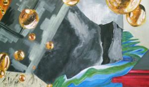 Acrylbild, Collage, Oeltropfen, Acrylmalerei, Leinwand, 60 x 100 cm