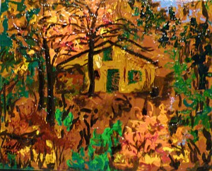 Acrylbild, Jagdhaus, Bienenhaus, Herbst, Acrylmalerei, Leinwand, 24 x 30 cm
