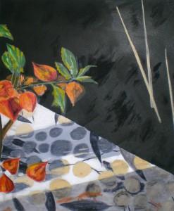 Acrylbild, Stillleben, Physalis, Acrylmalerei, Leinwand, 60 x 50 cm
