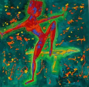Acrylbild, Menschen, Taenzerin, Acrylmalerei, Leinwand, 80 x 80 cm