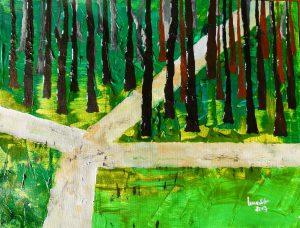 Fruehling, Kauber Wald, Acryl