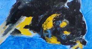 Caisa auf der blauen Decke 2016 Acryl auf Leinwand, 24 x 30 cm