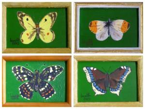 Acrylbild, Schmetterling, Acrylmalerei, Malpappe, 9 x 13 cm