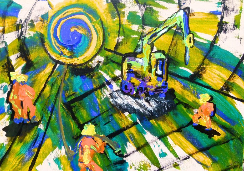 Tunnelarbeiten 2016 Acryl auf Leinwand, 50 x 70 cm, work, tunnel, acryl