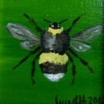 Hummel, Oelmalerei, Malpappe, 5 x 5 cm