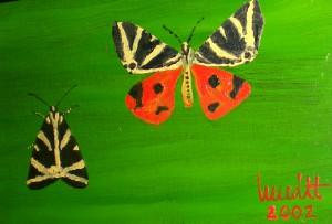 Russischer Baer, Schmetterling, Oelmalerei, Malpappe, Postkartengroesse