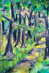 Waldweg, Farbstifte, Malkarton, 18 x 12 cm